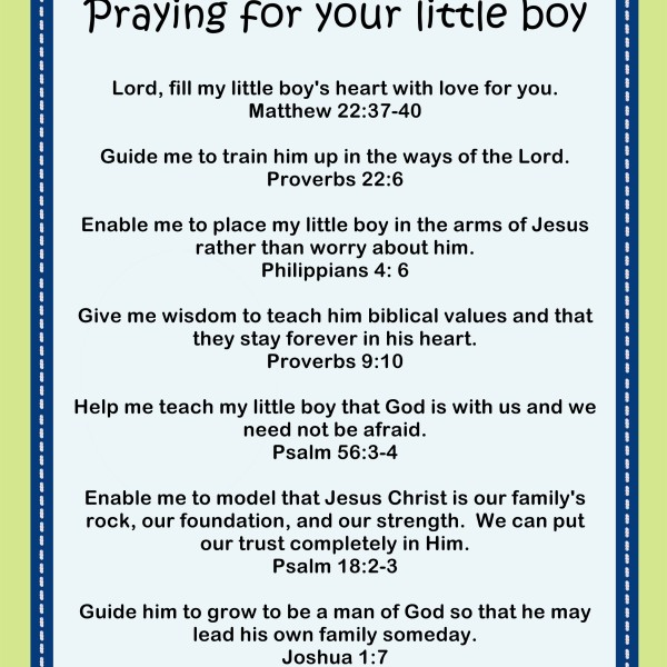 Praying for your little boy Printable