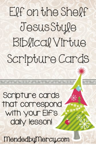 Elf on the Shelf Jesus Style Biblical Virtue Scripture Cards